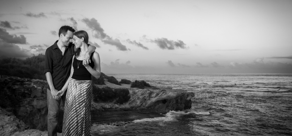 Black and White Sunset Engagement
